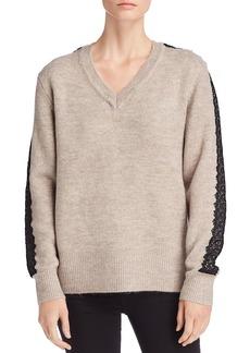 CATHERINE Catherine Malandrino Lace-Trimmed V-Neck Sweater