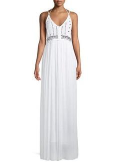 Catherine Catherine Malandrino Leila Embellished-Gauze Maxi Dress