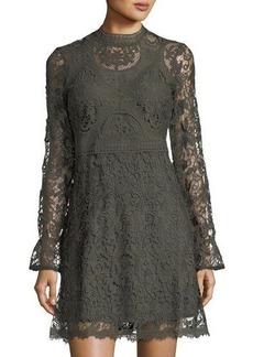 Catherine Catherine Malandrino Long-Sleeve Lace Fit-&-Flare Dress