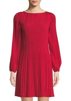Catherine Catherine Malandrino Long-Sleeve Pleated Shift Dress