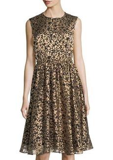 Catherine Catherine Malandrino Metallic Burnout A-Line Dress