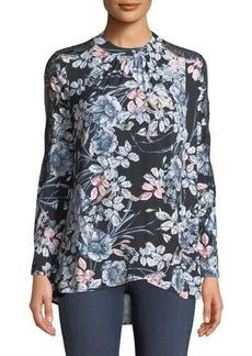 Catherine Catherine Malandrino Mock-Neck Lace-Sleeve Floral Blouse