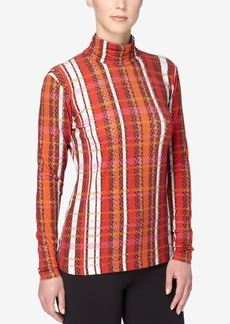 Catherine Catherine Malandrino Mock-Neck Plaid Top