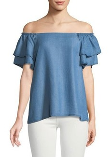 Catherine Catherine Malandrino Off-The-Shoulder Ruffle-Tiered Chambray Blouse