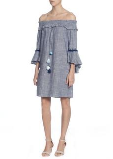 Catherine Catherine Malandrino Off the Shoulder Tassel Tie Cotton Dress