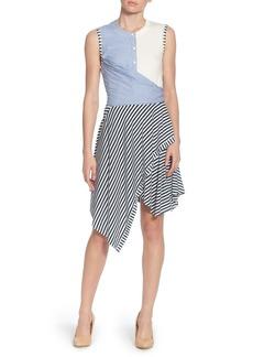 Catherine Catherine Malandrino Pattern Mix Asymmetrical Stripe Dress
