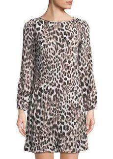 Catherine Catherine Malandrino Pleated A-Line Leopard-Print Dress
