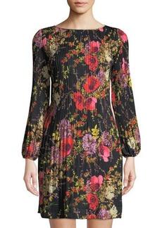 Catherine Catherine Malandrino Pleated Long-Sleeve Floral-Print A-Line Dress