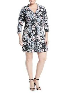 Catherine Catherine Malandrino Plus 3/4-Sleeve Pintucked Floral Dress