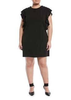 Catherine Catherine Malandrino Plus Ruffle-Sleeve Grommet-Shoulder Shift Dress