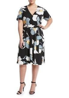 Catherine Catherine Malandrino Plus Short-Sleeve Floral Wrap Dress