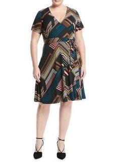 Catherine Catherine Malandrino Plus Short-Sleeve Striped Belted Wrap Dress