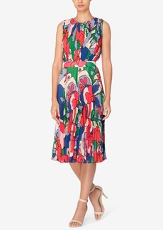 Catherine Catherine Malandrino Printed Pleated Fit & Flare Dress