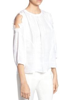 CATHERINE Catherine Malandrino Priya Linen Cold-Shoulder Blouse