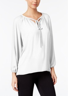 Catherine Catherine Malandrino Regan Tie-Neck Peasant Blouse