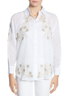 CATHERINE Catherine Malandrino Renzo Embroidered Button-Down Blouse