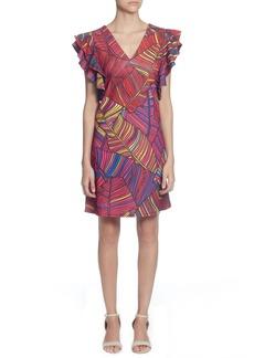 Catherine Catherine Malandrino Sandrine Colorful Palm Print Dress