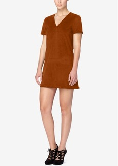 Catherine Catherine Malandrino Short-Sleeve Faux-Suede Shift Dress