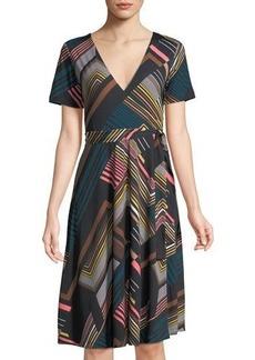Catherine Catherine Malandrino Short-Sleeve Striped Belted Wrap Dress