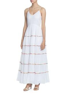 CATHERINE Catherine Malandrino Soumaya Tiered Ruffle Pom-Pom Maxi Dress
