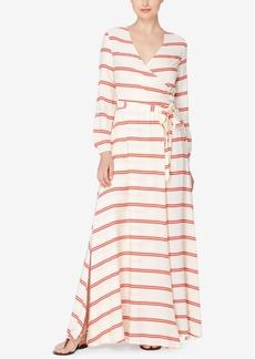 Catherine Catherine Malandrino Striped Faux-Wrap Maxi Dress