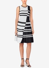Catherine Catherine Malandrino Striped Jacquard Fit & Flare Dress