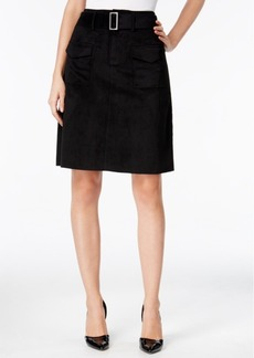 Catherine Catherine Malandrino Vernon Belted Faux-Suede A-Line Skirt