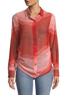 Catherine Catherine Malandrino Wavy-Print Side-Ruched Button-Front Blouse