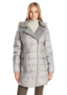 CATHERINE CATHERINE MALANDRINO Women's Assymetrical Down Coat With Wool Trim and Faux Fur Hood
