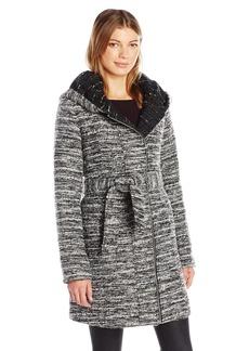 CATHERINE CATHERINE MALANDRINO Women's Belted Zip Boucle Wool Coat