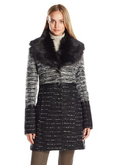 CATHERINE CATHERINE MALANDRINO Women's Boucle Wool Coat with Removable Faux Fur Collar