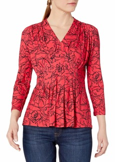 CATHERINE CATHERINE MALANDRINO Women's Rea Top Graphic Floral Lipstick red Extra Large