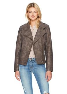 CATHERINE CATHERINE MALANDRINO Women's Washed Faux Suede Moto Jacket