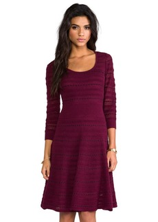 Catherine Malandrino Assunta Long Sleeve Fit and Flare Dress in Burgundy