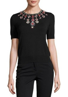 Catherine Malandrino Beaded-Neck Short-Sleeve Knit Top