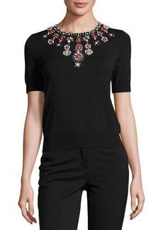 Catherine Malandrino Beaded-Neck Short-Sleeve Knit Top