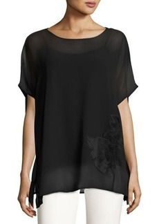 Catherine Malandrino Boxy Blouse with Velvet Flower Front