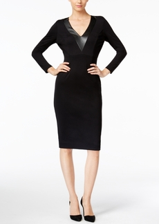 Catherine Malandrino Corey Faux-Leather-Trim Sheath Dress