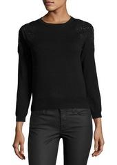 Catherine Malandrino Crewneck Sweater with Lace Trim