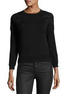 Catherine Malandrino Crewneck Sweater with Lace Trim