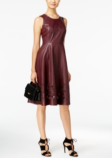 Catherine Malandrino Dupree Faux-Leather Laser-Cutout Fit & Flare Dress