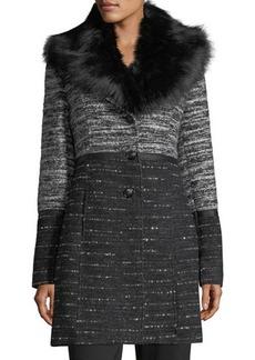 Catherine Malandrino Faux-Fur-Collar Chunky Tweed Coat