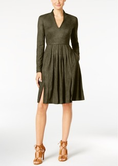 Catherine Malandrino Faux-Suede Fit & Flare Dress