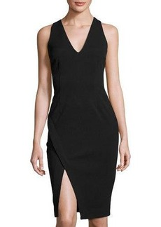 Catherine Malandrino Faux-Wrap V-Neck Sheath Dress