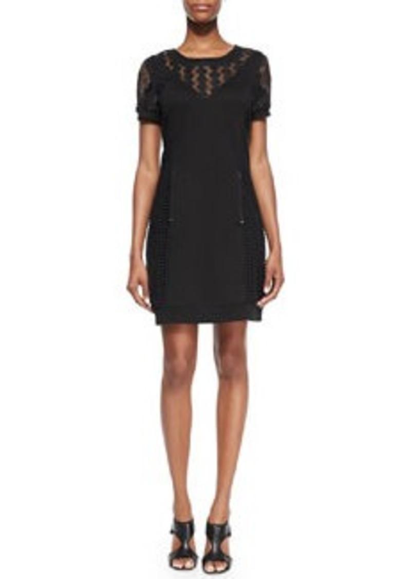Catherine Malandrino Genie Short-Sleeve Mixed-Pattern Sweatshirt Dress