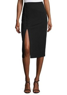 Catherine Malandrino Lace-Detail Slim Midi Skirt