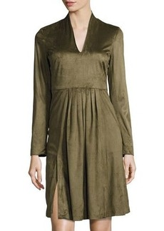 Catherine Malandrino Long-Sleeve Faux-Suede Fit-and-Flare Dress
