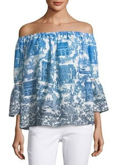 Catherine Malandrino Mina Printed Chiffon Off-Shoulder Top