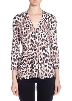 Catherine Malandrino Paneled Design Leopard Print V-Neck Top