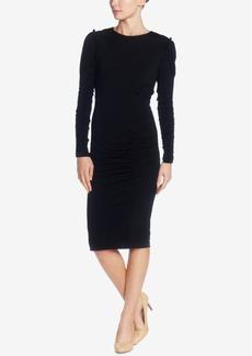 Catherine Malandrino Ruffle-Shoulder Ruched Dress